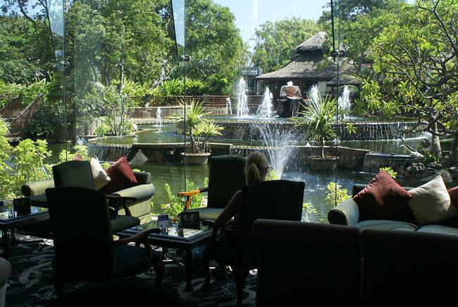 Hilton Hotel Tea Room Water Garden in Colombo Fort Sri Lanka