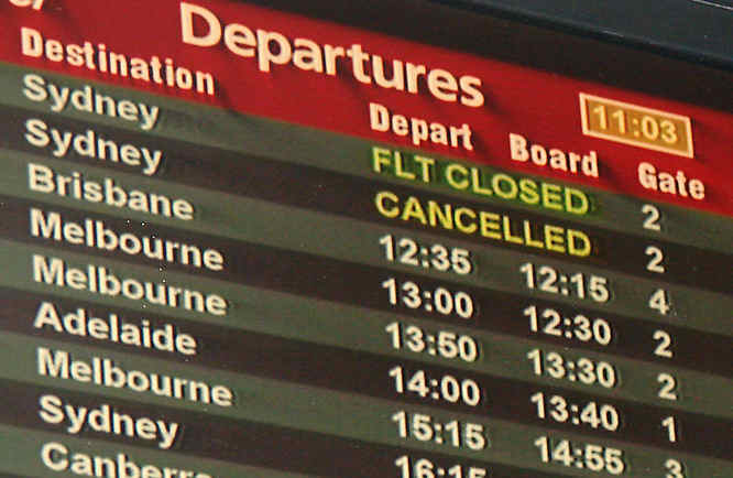 cancelled flight departures board