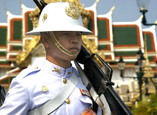 Thai Royal Guard close up in whites