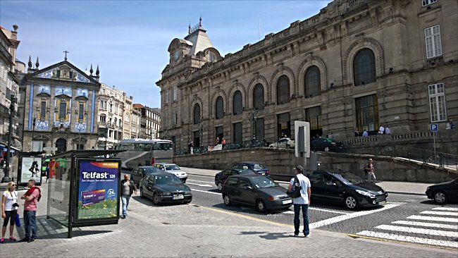 The exterior of Porto's main railway station