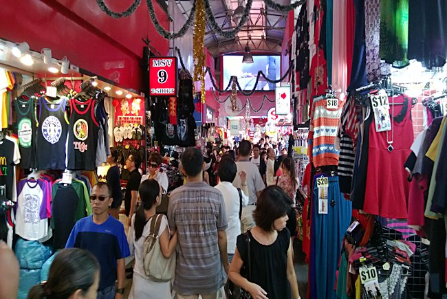 The large covered indoor shopping mall called Bugis St Market in Singapore