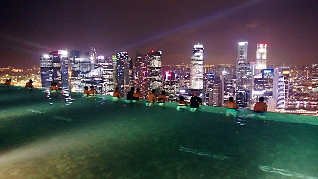 Marina Bay Sands Hotel Infinity Pool in Singapore at night